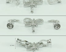 Jewelry finding, Brass clasp plated with rhodium decorated with white crystal glass, Size 12x38 mm., Wholesale bracelet & necklace clasp