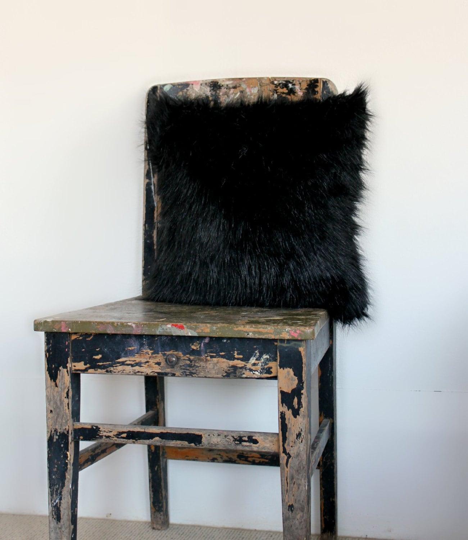 black faux fur cushion cover faux fur pillow slip black fur. Black Bedroom Furniture Sets. Home Design Ideas