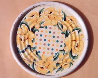 Vintage Metal Coaster Floral Daffodil