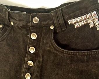 Women's High-Waisted Black Denim Studded Shorts