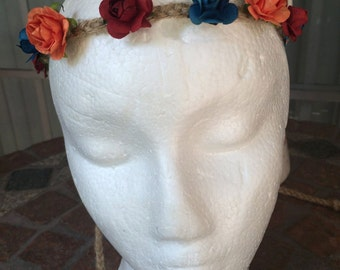 Armenian Flag Inspired Floral Crown
