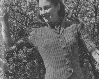 Vintage 1942 Knitting Pattern Ladies Short-Sleeve Cardigan - digital file