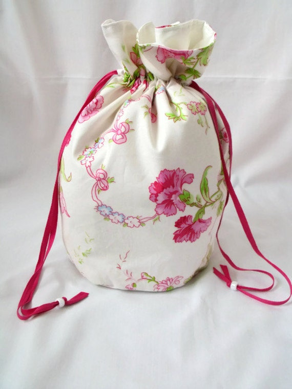 cosmetic bag, make up pouch, drawstring bag, toiletry bag, cosmetic holder, make up tidy, waterproof liner, floral cotton fabric, seconds