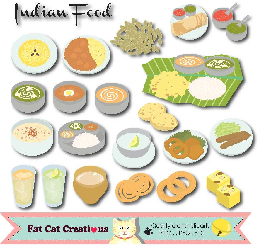Indian food traditional food clip art set graphic for Art of indian cuisine