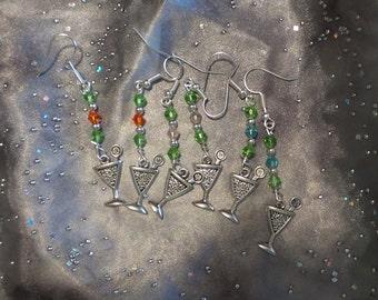 Handbeaded Martini Glass Earrings