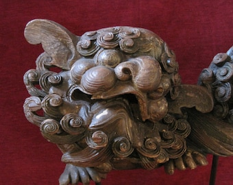 reserved for Bill Antique Asian Foo Dog-Lion-Dragon Temple Guard Wood Carved Architectural Element
