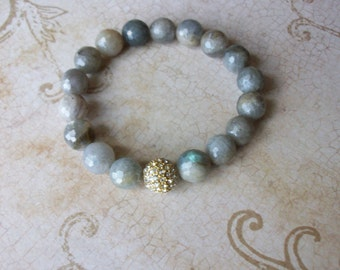 Gemstone Beaded Bracelet/Labradorite Beaded Bracelet/Beaded Stone Stretch Bracelet/Flash Labradorite Bracelet/Celebrity Stack Bracelet/B0158