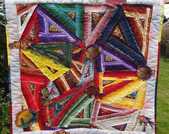 "Hand Made Patchwork Art Quilt -strip pieced Wall hanging-3-D objects with beads  Machine Quilted  with raised border gift for men 25""X25"""