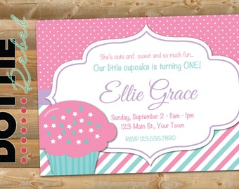 Cupcake First Birthday Invitation, 5x7 horizontal, pink