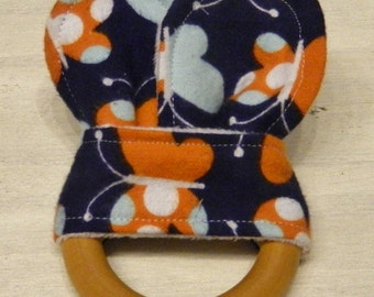 Butterfly- Bunny Ear Organic Teething Ring/ Fabric and Wood Teething Ring/ Crinkle Teething Toy