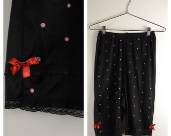 Vintage 1960s Bloomers / 60s Embroidered Polka Dot Black Long Knickers Pantaloons
