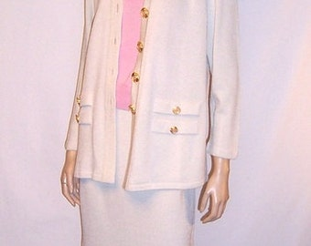 "Women's Three Piece Ensemble in Wintry White and Peony Pink by ""Toula"""