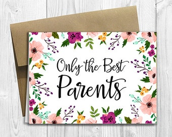 PRINTED CUSTOM Only the Best Parents Get Promoted to Grandparents Pregnancy Announcement 5x7 Greeting Card - Watercolor Flowers