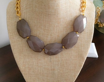 Smokey Grey Chunky Necklace, Gold Chain Necklace