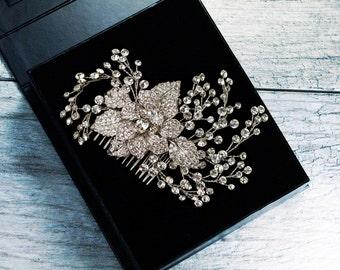 Rhinestone Hair Comb, Crystal Bridal Hair Comb, Wedding Hair Comb, Bridal Headpiece, Leaf Hair Comb, Silver Hair Comb, Flower Hair Comb