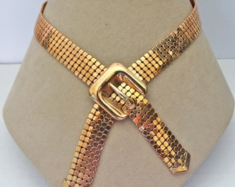 GOLDEN Chain MAIL MESH buckle Y bolo Necklace with original hang tag ~ pretty, vintage costume jewelry.
