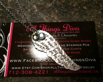 Angel WING handstamped MEMORIAL necklace in High Quality Aluminum