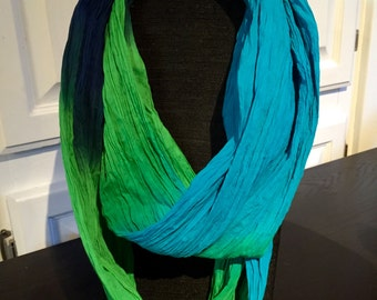 Blue, green and aqua blue infinity scarf - women's accessories - fashion scarf