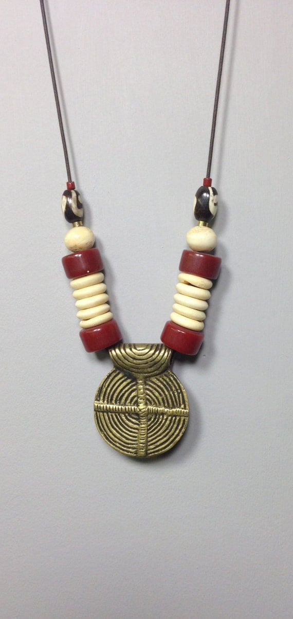 Cord Necklace India Naga Pendant Brass Red Horn Bone Handmade Handcrafted Unique Necklace Jewelry India Statement Unique