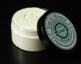Handmade Body Butter, Whipped Body Butter, Foot Lotion, Cooling Cream, Coconut Oil Body Butter, Foot Cream, Peppermint, Eucalyptus