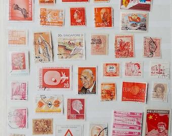 46 RED ORANGE Vintage International Postage Stamps - Scrapbooking - Card Making - Collecting