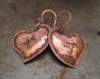 Copper heart earrings, hand forged dangle earrings