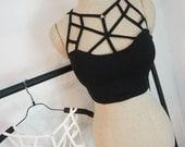 Punk Rock Gothic Goth Cross Straps Black Bustier Cami Camisole Crop Top Black / White  , steampunk black clothing black style