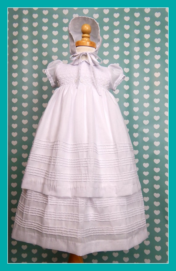 Baby christening gowns, christening dresses, christening outfits, antique christening gowns, cotton christening gown, handmade, smocked