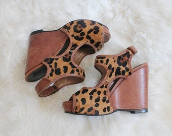 SALE! calf hair leather leopard wedge heel handmade shoes