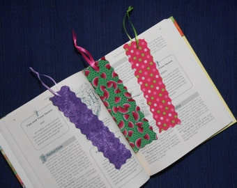 FREE Shipping on Lot of 3 Fabric or Cloth Bookmarks Multi Color and Size
