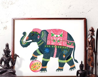 Elephant Wall Art, Bohemian Elephant Watercolor Painting, Indian Elephant Home Decor, Traditional Elephant Art Prints and Original Painting