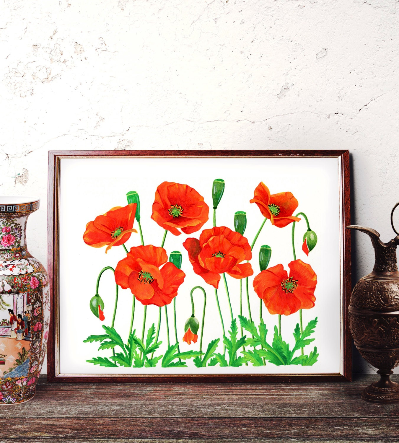 Red Poppy Wall Decor : Red poppy watercolor painting wall art poppies