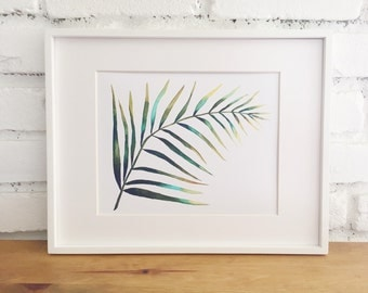 Print of Original watercolor painting of a palm leaf. Illustration, green, tropical, palm tree, aqua, mint, yellow, botanical, foliage