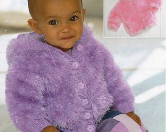 baby toddler childrens furry jacket with hood knitting pattern 18-28 inch eyelash yarn baby knitting pattern PDF instant download