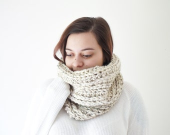 chunky crochet ribbed cowl, cream wool circle infinity scarf / Juniper / Oatmeal