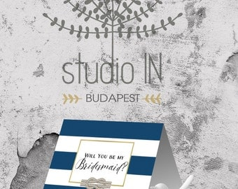 Will You be my Bridesmaid Printable, Nautical Bridesmaid Card, Navy Bridesmaid Invitation, Instant Download, Maid of Honor, Bridesmaid Card