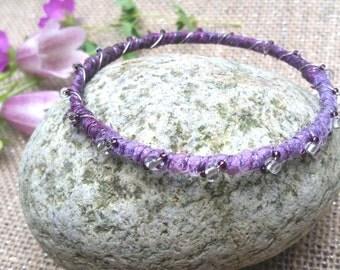 Bohemian Bracelet, sari silk and hand beaded bracelet, silk wrapped bracelet, gypsy bracelet