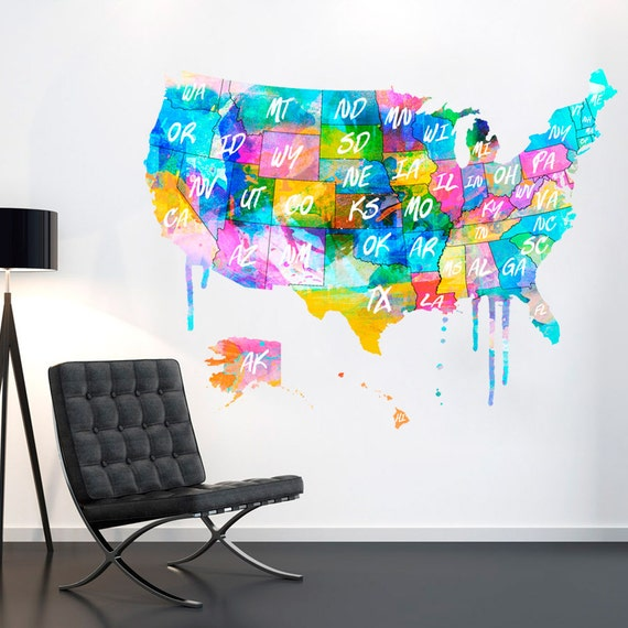 Usa Us Map Usa Map United States Watercolor Decal