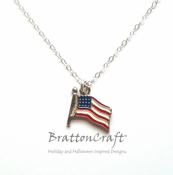 May The 4th Be With You Necklace: American Flag Necklace U.S. Flag Necklace Flag Necklace