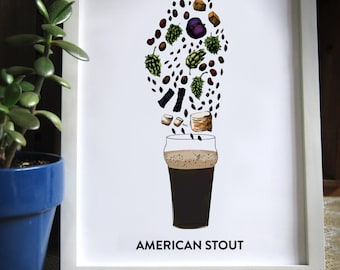 12x16 Beer Art, Bar Art, American Stout Flavor and Aroma Illustration, with Glass