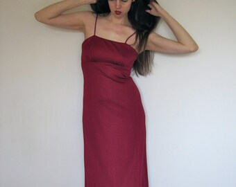CLEARANCE SALE 1970s Disco Dress Full Length Gown Dark Red Crimson Spaghetti Strap Polyester Goddess Maxi Dress sz Small b 34