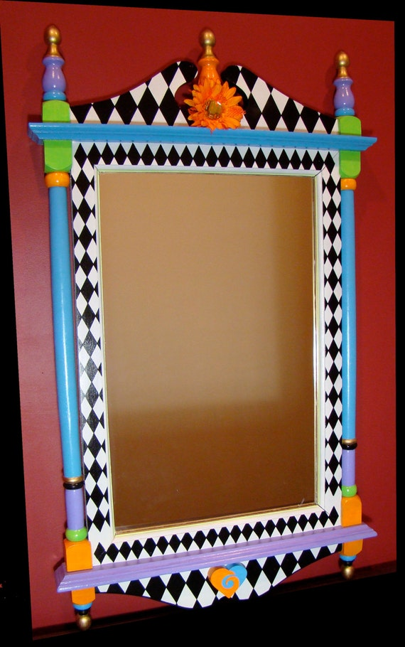 Large Wall Mirror Whimsical Hand Painted Wood By