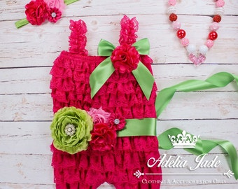 3 Piece Set Cake Smash Outfit Girl Birthday Outfit, 1st Birthday Outfit Girl, Lace Baby Romper Set, Cute Baby Outfit Toddler Birthday
