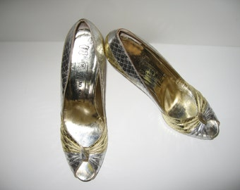 Bruno Magli Two Toned, Gold & Silver Leather Peep Toe Pumps