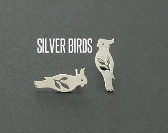 Silver Bird Stud Earrings, Bird Earrings, Bird Jewelry, Bird Studs, Bird jewelry, Animal Ear Studs, Bird Studs, Bird On Branch