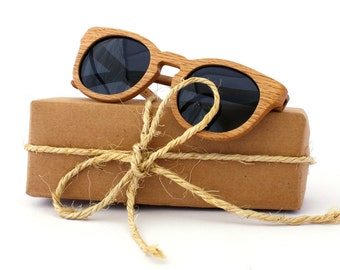 SALE Oak Wood Sunglasses Round Wooden Eyewear Polarized Man Woman WOODEER HandMade