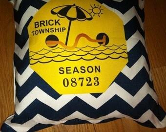 Brick Beach Badge Pillow