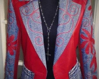 Flower Child - women's denim & leather jacket (Free shipping)