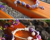 Yoga healing bracelet with natural stone purple agate beads or dragon vein agate, charm bracelet shambala shaman jewelry gift idea for her