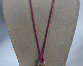 Pink wax cord necklace with pretty little golden brass padlock